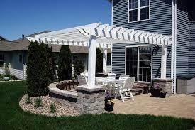 concrete patios with brick fireplace outdoor ideas landscapes ideas bricks and vinyls pergolas