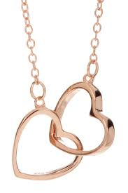 image of rose gold plated sterling silver interlocking double heart pendant necklace