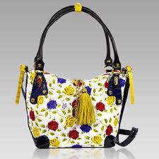 marino orlandi handpainted yellow roses leather purse cross bag