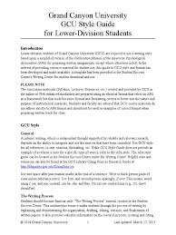 Grand Canyon University Gcu Style Guide For Lower Division Students