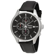 seiko black dial black leather men s watch sks547