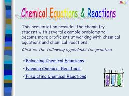 this presentation provides the chemistry student with several example problems to become more proficient at working 2 balancing chemical equations