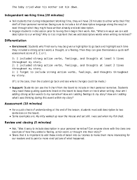 Chart Narrative Examples Narrative Writing Vivid Descriptions Lesson Plan