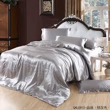 silver grey silk bedding set satin sheets super king size queen double quilt duvet cover bedspreads