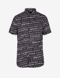 Armani Exchange SLIM FIT SHIRT WITH SHORT SLEEVES, Printed Shirt for Men |  A|X Online Store