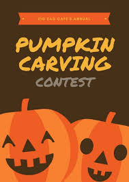 Pumpkin Carving Contest Flyers Dark Brown And Orange Pumpkin Carving Halloween Event Flyer