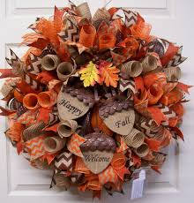 Fall Wreath Fall Mesh Wreathfall Burlap Wreathfall Door Wreathhappy Fall