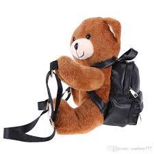 teddy bear plush backpacks soft bear shoulder bag fashion winter warm women backpack pu leather rucksack female mochila bags jansport big student backpack