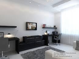 Black desk white home office Interior Design Ideas