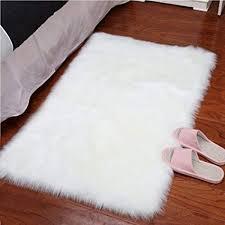 plush bedroom rugs. Interesting Plush GWL Super Soft Faux Sheepskin Area Rug Shaggy Silky Plush Fur Carpet White  For Bedroom Rugs S