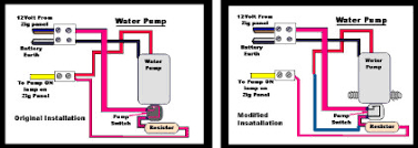autohomes wanderer peugeot boxer 1 9ltr diesel engine page 23 a before and after water pump circuit diagram which had to be done when the pump was changed the change is the blue wire in second drawing on the right
