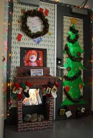 christmas office door decorating ideas. Christmas Door Decorating Contest With Two LCD Displays. One TV Was For A Fireplace And The Other Rotated Movies. Office Ideas