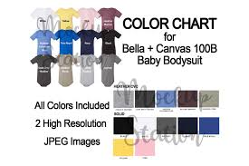 Bella Color Chart Color Chart For Bella Canvas 100b Baby Bodysuit Mockup Baby