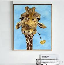 2018 funny animal rose in giraffe mouth high quality genuine hand painted wall decor abstract animal pop art oil painting on canvas ali qijia from