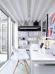 home office white office. Stylish-home-office-space-ideas-in-white-contemporary-home-office-design Home Office White 5
