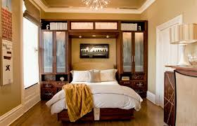 Cool Home Interior Design For Decorating Small Bedrooms : Fabulous Ideas  Using Dark Cherry Wood Wall ...