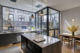 architectural kitchen designs. Interior Design Portfolio Of Modern Kitchen With Marble Countertop Big Wdow Mimalist Island And Wooden Floor Residence House Plans Architectural Designs A