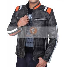 retro cafe racer classic motorcycle double stripe distressed black leather jacket leather jacket for men s