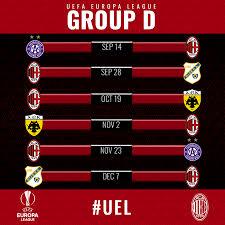 AC Milan - Il calendario del nostro girone di Europa...