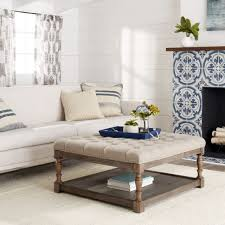 ottoman coffee table tufted beige linen wood modern chic home furniture fabric