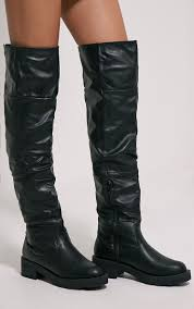 varley black faux leather thigh high flat boots image 1