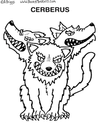 Small Picture Book of Monsters coloring page for kids Cerberus Greek Mythology