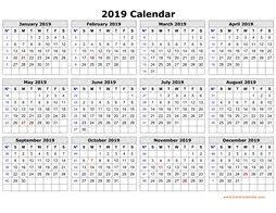 2019 Calendar Printable Template Printable Calendar 2019 Free Download Yearly Calendar Templates