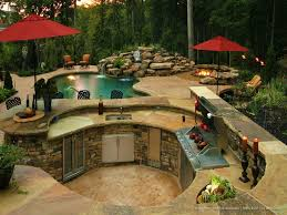 backyard designs with pool and outdoor kitchen. Delighful Outdoor Outdoor Kitchen With Pool On Backyard Designs With Pool And Kitchen T
