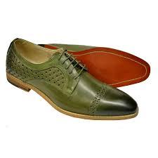 antonio cerrelli olive green perforated cap toe vegan leather derby shoes 6812