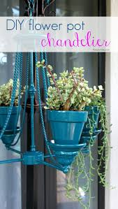 diy flower pot chandelier hanging planter upcycled recycled plant chandelier for patio makeover
