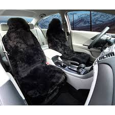 black sheepskin seat covers front