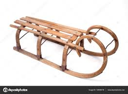 vintage wooden sled stock photo