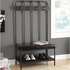 Metal Entryway Storage Bench With Coat Rack Black Metal Entryway Storage Bench with Coat Rack Home Improvement 14