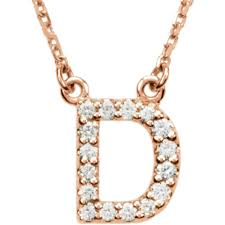 diamond d initial 14k rose gold necklace 16