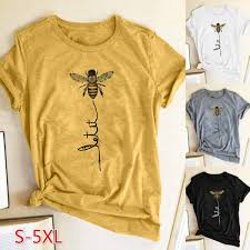 <b>2019 Summer</b> New Women Fashion Let It ~ Bee <b>Printed</b> Casual ...