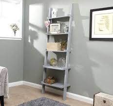 grey ladder shelving unit 5 tier display stand book shelf wall rack storage