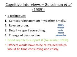 cognitive psychology memory psya  cognitive interviews