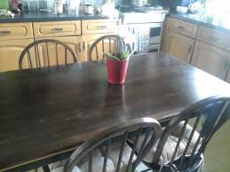 farmhouse kitchen table and four chairs. chunky farmhouse kitchen table and four chairs,dark wood..vintage chairs n