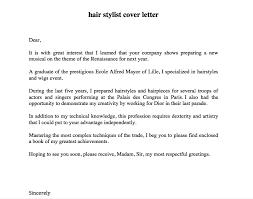 Hair Stylist Cover Letter Http Resumesdesign Com Hair Stylist