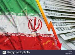 Iran Flag And Chart Falling Us Dollar Position With A Fan Of