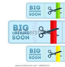 Announcement Postcards Announcement Postcards Opening Scissors Cutting Color Stock Vector