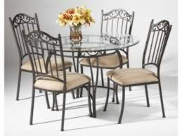 Rod Iron Kitchen Tables Round Glass Iron Dining Table