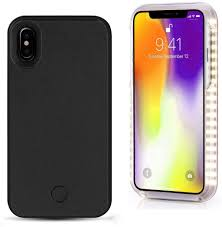 Iphone X Led Light Case Spruce Selfie Led Light Case Iphone X Cover Rechargeable Backup Black