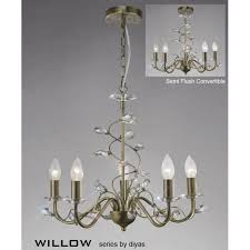 willow medium 5 light antique brass chandelier with crystal decoration