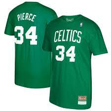 Boston amp; Green Number Kelly Celtics Name T-shirt Ness Retirement Pierce Paul Mitchell