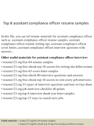 Pliance Officer Resume Objective Sample Example Regulations
