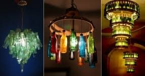 Glass bottle chandelier diy