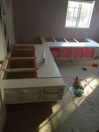 This week I finished a custom corner bed frame for my two daughters who  share a room. (I still have to build the corner nightstand part) I was insp