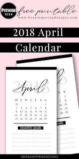 Basic Calendars April 2018 Calendar Personal Size Calendar Divider Free Printable