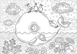 クジラと鳥のキュートな塗り絵幼児子供向け無料ダウンロード印刷